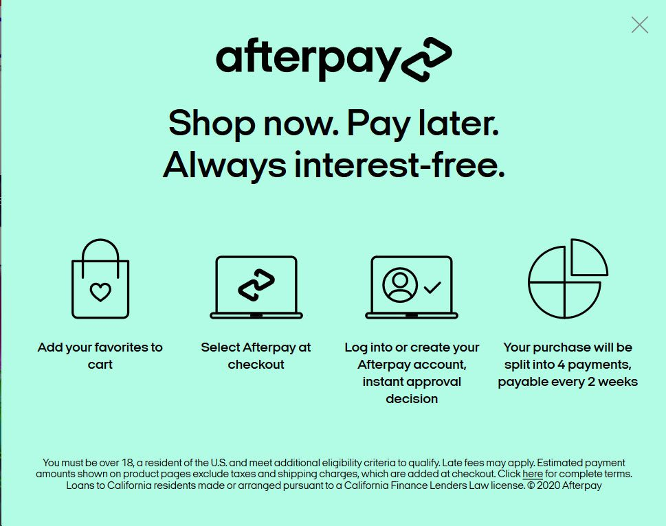 Afterpay Payments at Coolwick